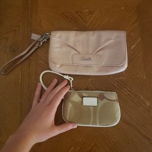 Coach soft Pink Wristlet & Canvas Print Coin Purse